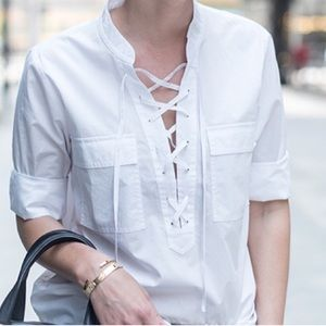 Madewell lace-up top size large